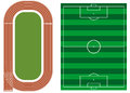Athletics track with soccer field vector illustration background Stock Photo