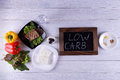 Atkins diet a low in carbohydrates Stock Photo