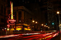 Atlanta Downt Hard Rock Cafe and Hooters at Night Stock Photography