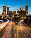 Atlanta downtown skyline during twilight blue hour Royalty Free Stock Image