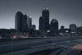 Atlanta Skyline At Rainy Night