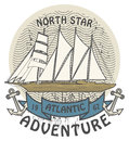 Atlantic adventure stamp grunge rubber with the words written inside the Stock Photography