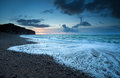Atlantic ocean coast in dusk normandy france Stock Photo