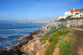 Atlantic ocean rocky shore in estoril scenic of the portugal Royalty Free Stock Photos