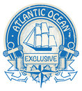 Atlantic ocean stamp grunge rubber with the words written inside the Stock Photo