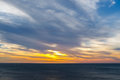 Atlantic ocean at sunset in cadiz andalucia spain Royalty Free Stock Photo