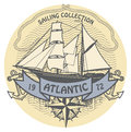 Atlantic sailing stamp grunge rubber with the words written inside the Royalty Free Stock Photo