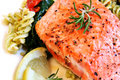 Atlantic Salmon and Pasta Salad Stock Photography