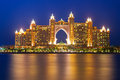 Atlantis hotel iluminated at night in dubai on march uae the palm is a luxury star built on an artificial island Royalty Free Stock Image