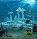 Atlantis Ruins Underwater Royalty Free Stock Photo