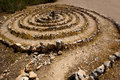 Atlantis spiral sign in ibiza with stones on soil at balearic islands Stock Image