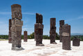 Atlantis in tula mexico the statues of the warriors and columns ruins on the top of a temple the toltec archaeological site of Stock Images