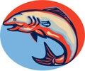 Atlantiska salmon fish jumping retro Arkivbild