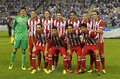 Atletico de madrid team posing before a spanish league match against rcd espanyol at the estadi cornella on october in barcelona Stock Photography