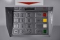 Atm the keypad of the machine in bank Royalty Free Stock Image