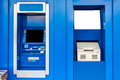 Atm machine blue automatic teller or and passbook update Stock Images