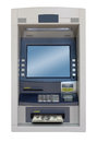 Atm machine isolated with dollars bill Stock Image
