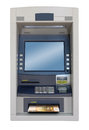 Atm machine isolated with euro bill Royalty Free Stock Images