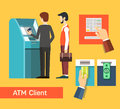 Atm machine money deposit and withdrawal payment using credit card flat icon set eps vector Royalty Free Stock Photo