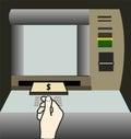 Atm money withdraw hand background illustration Stock Photo