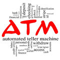ATM Word Cloud Concept in red & black Royalty Free Stock Photo