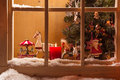 Atmospheric Christmas window sill decoration:snow,tre e,candle,rocking horse and carousel