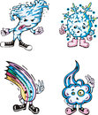 Atmospheric natural phenomena water set of funny color vector characters Royalty Free Stock Photography