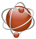 Atom 3D red nucleus and electron icon Stock Image