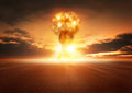 Atom bomb explosion a modern nuclear in the desert Royalty Free Stock Images