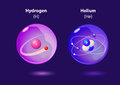 Atom Helium and Hydrogen Royalty Free Stock Photo