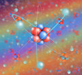 Atom lattice in colored background other atoms Royalty Free Stock Photography