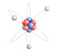 Atom model with red and blue elements on white background Stock Photography
