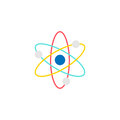Atom and molecule flat icon, education and school