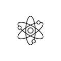 Atom and molecule line icon, education and school