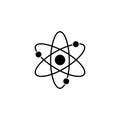 Atom and molecule solid icon, education and school