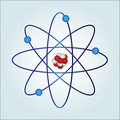 Atom with necleus and protons