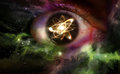 Atom particle eyes atomic reflection in the pupil of an eye for physics background Stock Photography