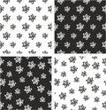 Atom Symbol or Atom Sign Freehand Big & Small Aligned & Random Seamless Pattern Set Royalty Free Stock Photo