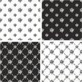 Atom Symbol or Atom Sign Freehand Big & Small Seamless Pattern Set Royalty Free Stock Photo