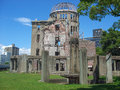 Atomic bomb dome in hiroshima ruins of the peace memorial which celebrates the people killed the bombing of Stock Image