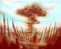 Atomic mushroom cloud nuclear bomb blew in the middle of the big city full of tall skyscrapers buildings are bent and torn and Royalty Free Stock Photo