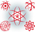 Atoms a set of atomic symbols and icons Royalty Free Stock Images