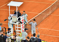 Atp mutua open madrid grigor dimitrov win the game against novak djokovic th may Stock Images