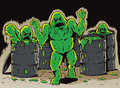 Attack of the slime monsters cartoon mutated slimy coming out barrels Royalty Free Stock Image
