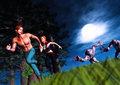 Attack of the zombies heroes running for life scene two chasing after humans under watchful eyes moon Stock Photos