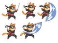 Attacking ninja cat animation sprite cartoon illustration of for game Stock Photos