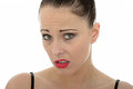 Attactive Young Caucasian Woman Looking Worried and Concerned Ab Royalty Free Stock Photo