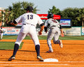 Attempted steal crawdads luke tendler attempts to second base against the charleston riverdogs Stock Photos