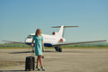 Attendant airport photo shoot prodessional model and photograph Royalty Free Stock Photo