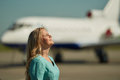 Attendant airport photo shoot prodessional model and photograph Royalty Free Stock Images